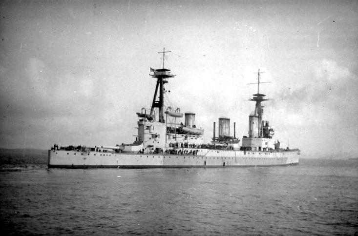 HMS Indefatigable underway in coastal waters just before the Battle of Jutland.jpg