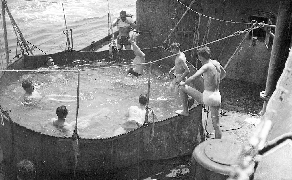 Bathing pool on the HMS Repulse - off the African coast - Nov 1941.jpg