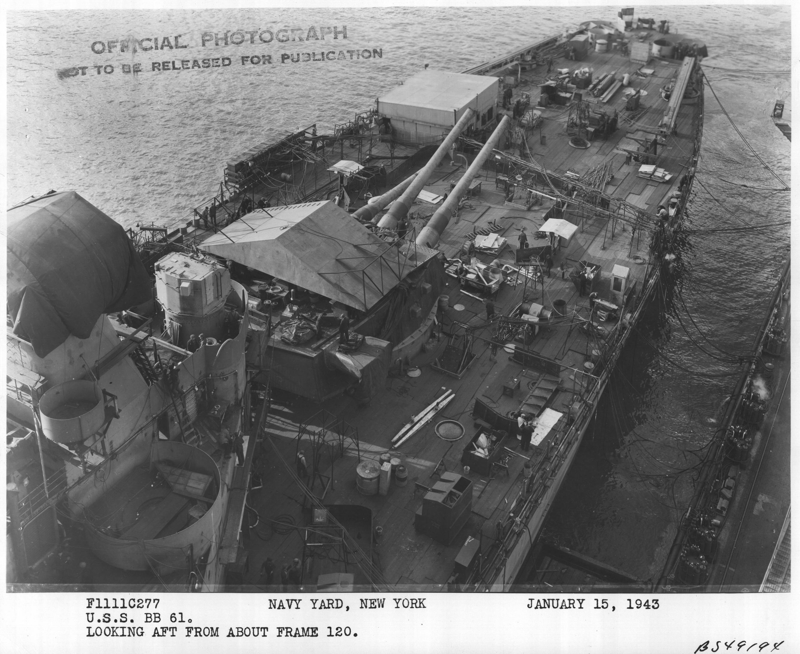 USS Iowa (BB61) in the New York Navy Yard Looking Aft From About Frame 120 , 01-15-1943.jpg